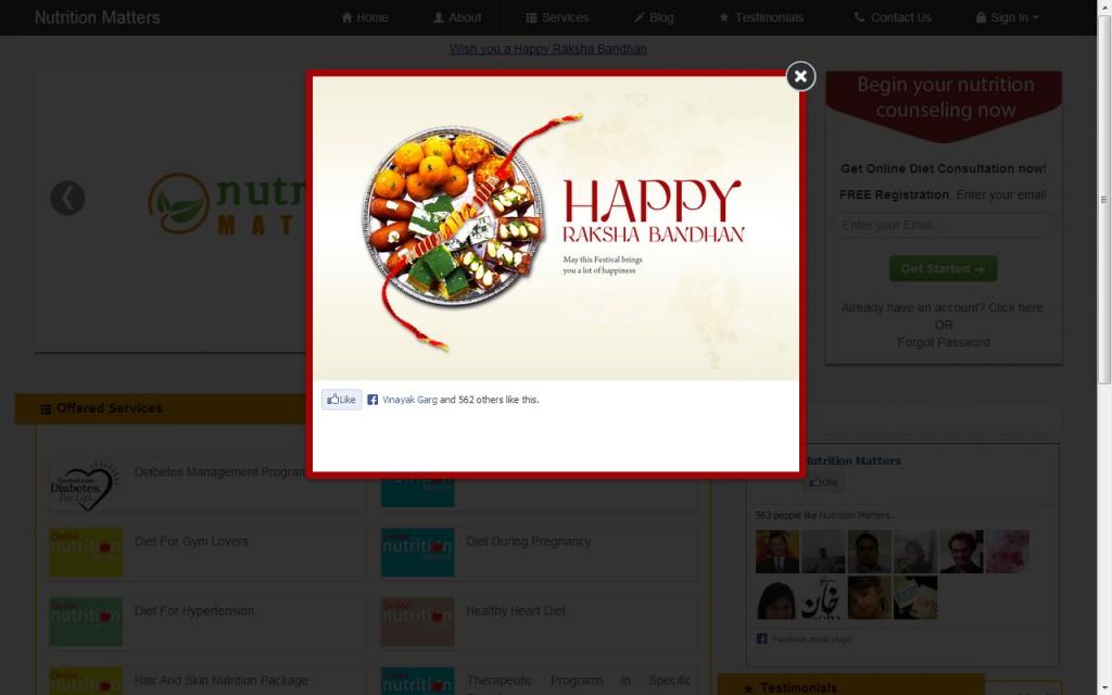 Rakhi Wishes Displayed on eClinic of Dt. Ankita Gupta (http://ankitagupta.zest.md)